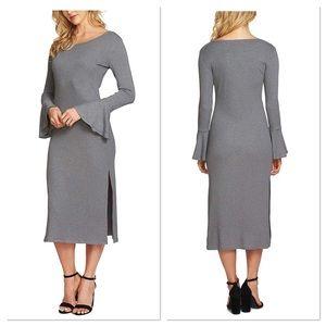 1.state bell sleeve midi grey ribbed slip on dress
